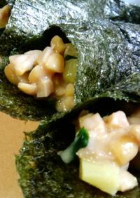 おつまみに☆納豆の海苔巻き