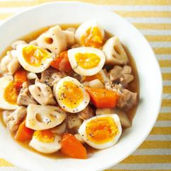 ゆで卵と根菜のオイスターソース煮
