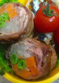 お弁当用に…豚こま肉でスタミナ野菜ロール