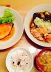 ネギでさっぱり☆鶏肉とナスの煮浸し定食