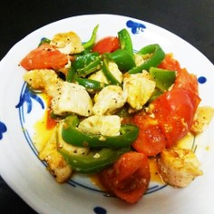 鶏むね肉とトマトの塩レモンポン酢炒め