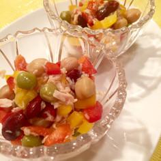 大好き♫パプリカとお豆の彩りサラダ