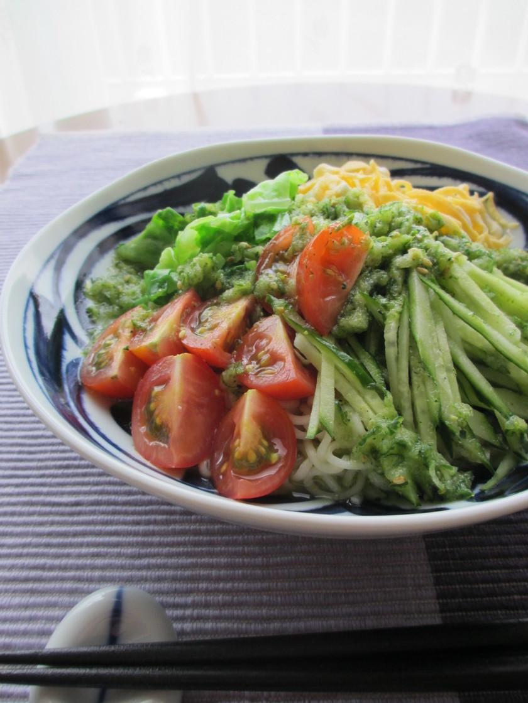 夏野菜たぷり✿緑酢deぶっかけ塩ラーメン