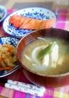和朝食♪モロッコいんげんと玉ねぎの味噌汁