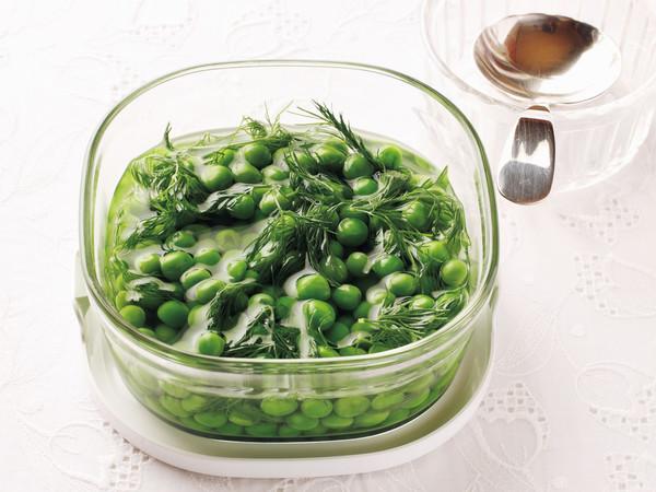 グリーンピースのハーブ塩水漬け
