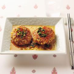 高野豆腐の韓国風ハンバーグ