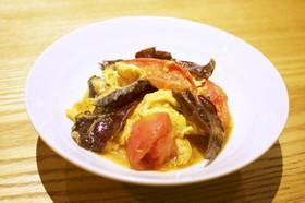 黒きくらげとトマトと卵の中華炒め