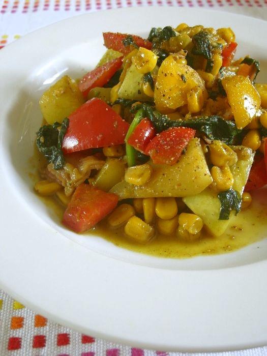 夏野菜とコーンのカレーバター醤油ソテー