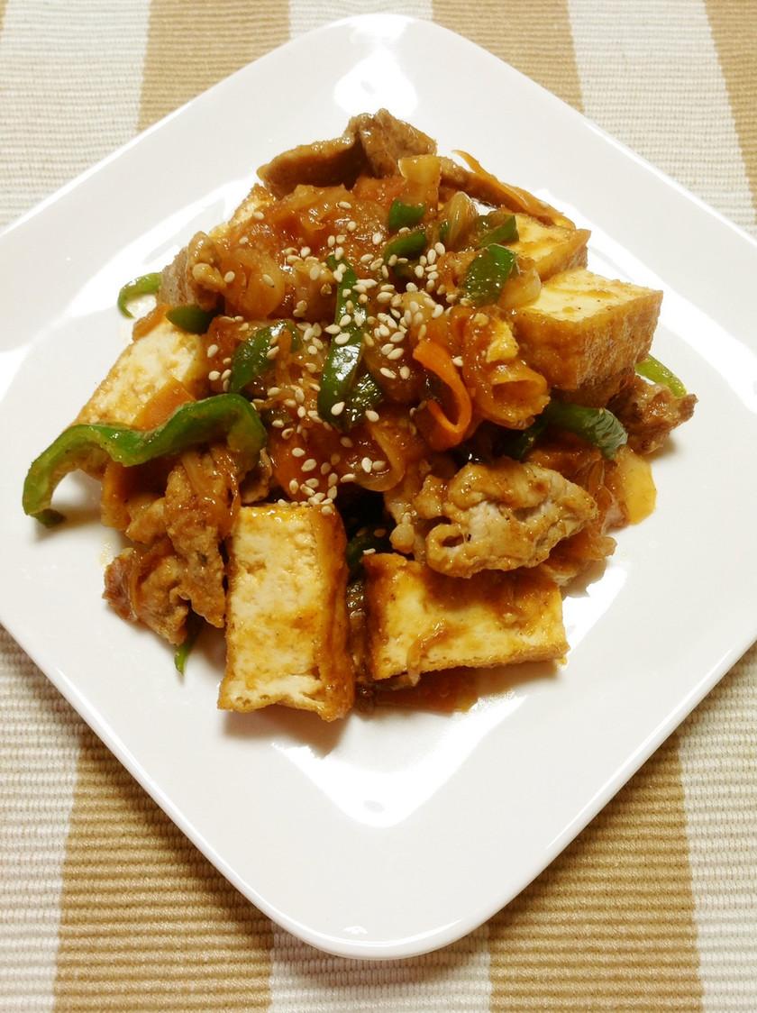 厚揚げと野菜の甘辛炒め