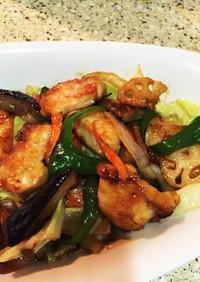 鶏むね肉と夏野菜のピリ辛炒め