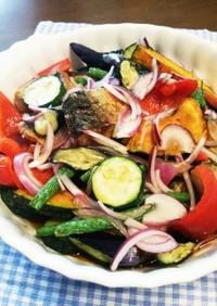夏野菜×塩鯖の揚げ浸し♪夏野菜大量消費!