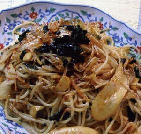 キムチと韓国海苔の辛パスタ