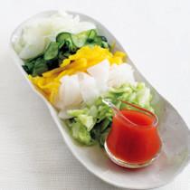 刻み野菜の塩もみトマトだれ添え