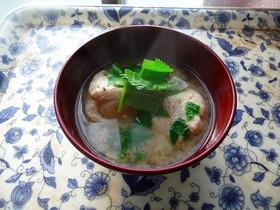 すり身と明日葉のお味噌汁