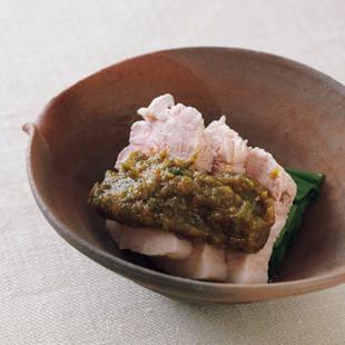 ゆで豚とわけぎの木の芽味噌がけ