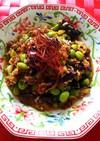 茄子と挽き肉の夏味の炒め物