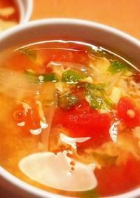 トマトの入った具だくさんスープ( ^^)