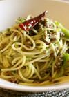 つぶしブロッコリーとひき肉のスパゲッティ