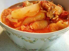 炊飯器で豚と大根のトマト煮