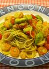 海老とアボカドのミニトマト入りパスタ
