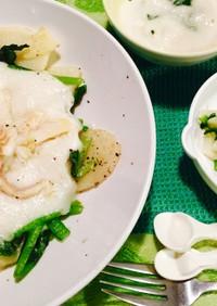 離乳食と大人用に♡白身魚と野菜のソテー