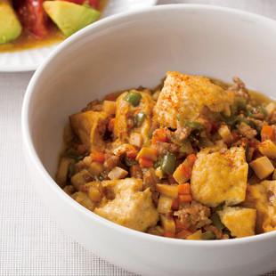 厚揚げとコロコロ野菜のそぼろ煮