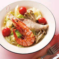 白身魚とえびの野菜蒸し