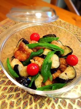 めんつゆで簡単☆夏野菜と鶏肉の揚げ浸し
