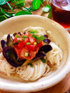 サッパリ簡単!茄子とトマトの素麺♡