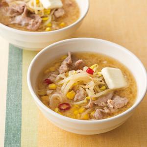豚もやしのみそバタコーンスープ