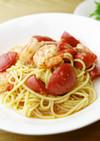 海老とフルーツトマトのパスタ☆バジル風味