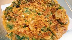 チーズとニラのキムチチヂミ