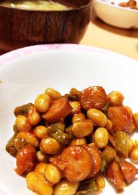 ウインナーと水煮大豆の簡単ポークビーンズ