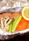 鮭のホイル焼きとピーマンぽん酢。ヘルシオ