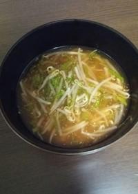 もやしと大葉のピリ辛冷製スープ