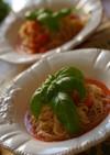 ガスパチョとプチトマトの冷製スープパスタ
