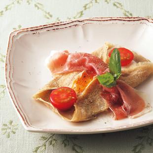 生ハムとプチトマトのガレット