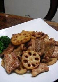 豚バラレンコン生姜炒め