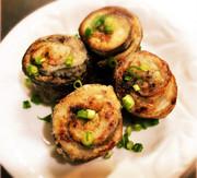 サンマの梅味噌ロール焼きの写真