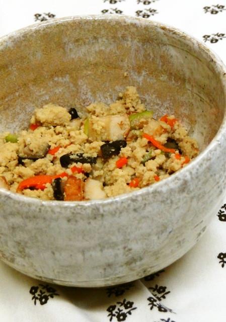 話題の粉豆腐の煎り煮