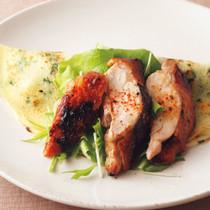 照り焼きチキンと水菜のクレープ
