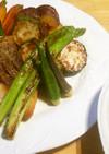 白身魚と野菜のグリル・のり佃煮サルサ風