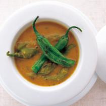 しし唐と大福豆のスープカレー