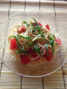 超簡単‼  トマトとツナの和風冷製パスタ