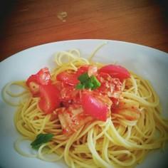 トマトとキムチの冷製パスタ