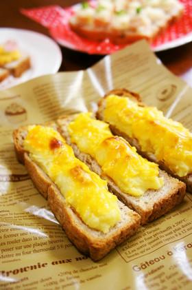 食パンで☆スイートポテトのオープンサンド