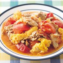 豚肉とトマトの中華風卵炒め