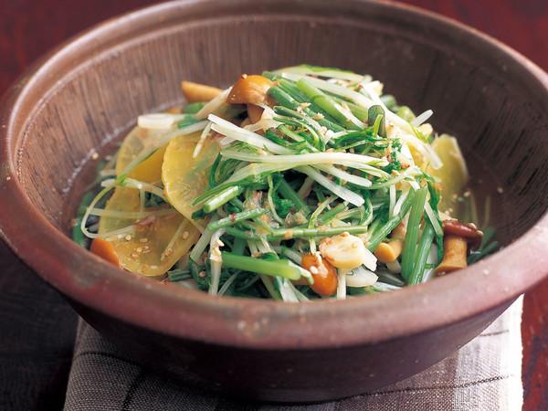 水菜とたくあんと山菜の煮もの