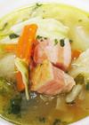 豚バックリブ茹で汁利用のキャベツのスープ