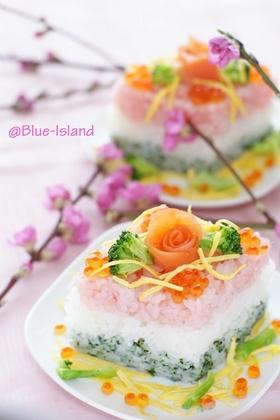ひな祭りのお寿司♪ひしもち風♪